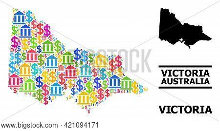 Vibrant Bank And Economics Mosaic And Solid Map Of Australian Victoria. Map Of Australian Victoria V