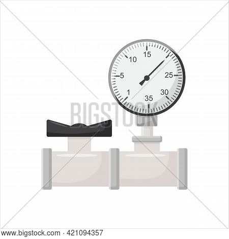 Manometer And Chrome Pipes With Water Valve Vector Isolated
