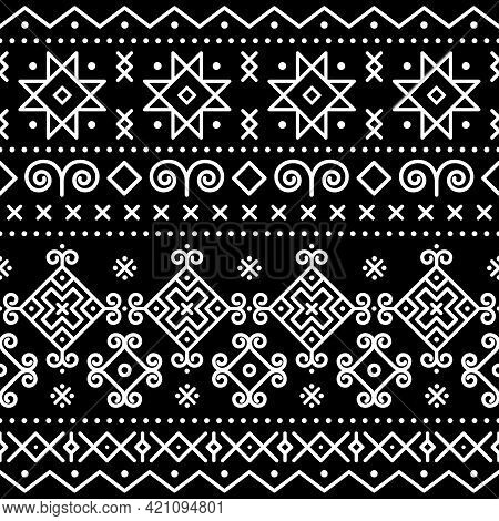 Traditional Folk Art Vector Seamless Pattern Inspired By An Old Painted Houses In Cicmany, Slovakia,
