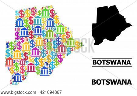Multicolored Bank And Dollar Mosaic And Solid Map Of Botswana. Map Of Botswana Vector Mosaic For Ads