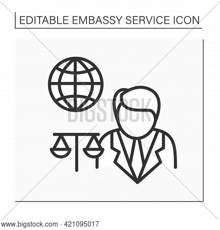 Legal Assistance Line Icon. Legal Services, Generic Information And Advice, Consultation.embassy Ser