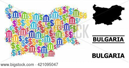 Colored Bank And Commerce Mosaic And Solid Map Of Bulgaria. Map Of Bulgaria Vector Mosaic For Busine