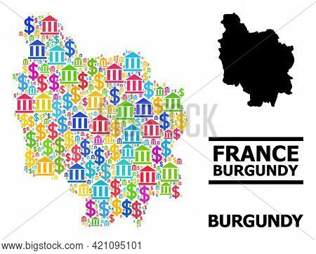 Vibrant Bank And Dollar Mosaic And Solid Map Of Burgundy Province. Map Of Burgundy Province Vector M