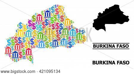 Vibrant Bank And Commerce Mosaic And Solid Map Of Burkina Faso. Map Of Burkina Faso Vector Mosaic Fo
