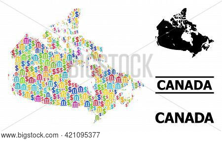 Multicolored Bank And Commercial Mosaic And Solid Map Of Canada. Map Of Canada Vector Mosaic For Pro