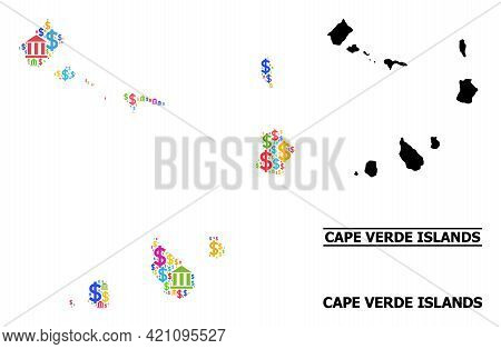 Multicolored Banking And Dollar Mosaic And Solid Map Of Cape Verde Islands. Map Of Cape Verde Island