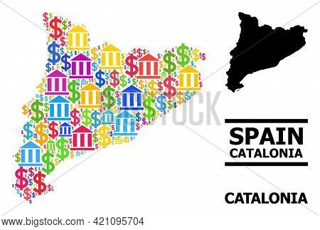 Bright Colored Finance And Dollar Mosaic And Solid Map Of Catalonia. Map Of Catalonia Vector Mosaic