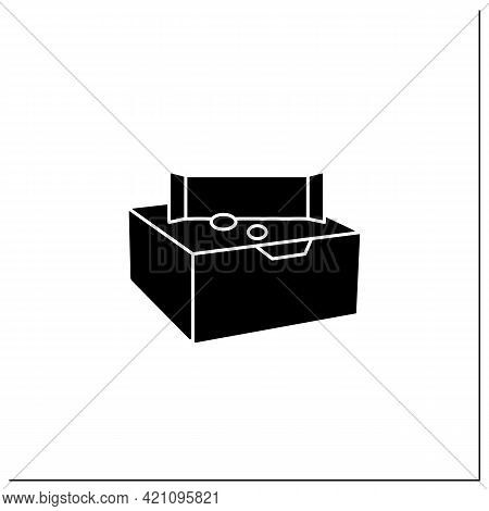 Snack Bars Glyph Icon. Paper Box With Snacks.portion Control, Protection, Tampering Resistance From