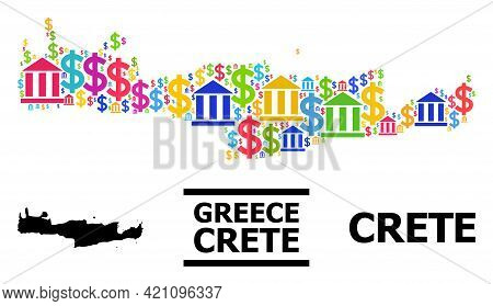 Bright Colored Bank And Dollar Mosaic And Solid Map Of Crete Island. Map Of Crete Island Vector Mosa