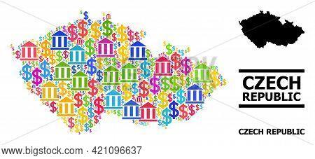 Vibrant Bank And Dollar Mosaic And Solid Map Of Czech Republic. Map Of Czech Republic Vector Mosaic