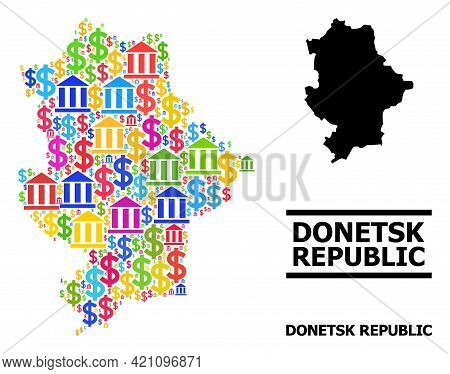 Bright Colored Bank And Dollar Mosaic And Solid Map Of Donetsk Republic. Map Of Donetsk Republic Vec