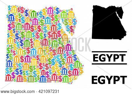 Bright Colored Bank And Money Mosaic And Solid Map Of Egypt. Map Of Egypt Vector Mosaic For Ads Camp