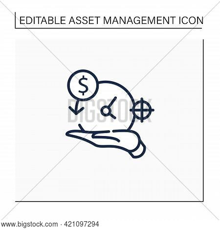 Asset Management Line Icon. Accurate Amortization Rates. Expensing Cost Process. Calculation Loan Pa