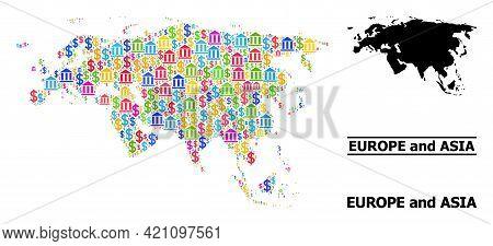 Vibrant Banking And Dollar Mosaic And Solid Map Of Europe And Asia. Map Of Europe And Asia Vector Mo