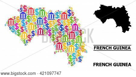 Colored Bank And Money Mosaic And Solid Map Of French Guinea. Map Of French Guinea Vector Mosaic For