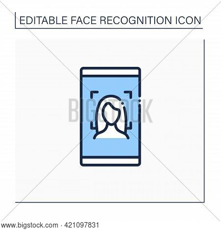 Face Recognition Line Icon. Authentication By Facial Recognition.biometric Face Scanning. Futuristic