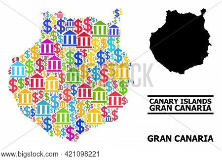 Multicolored Finance And Dollar Mosaic And Solid Map Of Gran Canaria. Map Of Gran Canaria Vector Mos