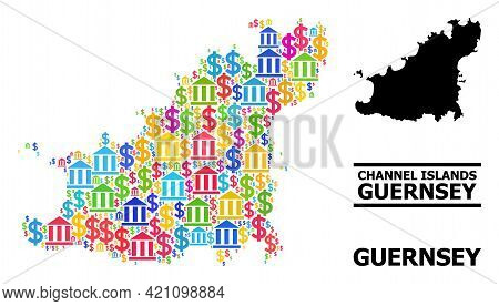 Vibrant Finance And Economics Mosaic And Solid Map Of Guernsey Island. Map Of Guernsey Island Vector