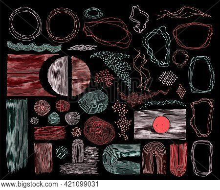 Scribble Frames, Lines And Dots Texture Backgrounds Vector Collection. Pen Drawn Fingerprint Abstrac
