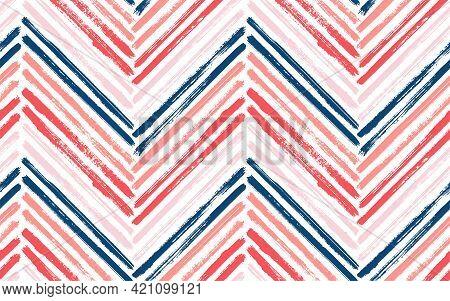 Doodle Zig Zag Interior Print Vector Seamless Pattern. Paint Brush Stroke Geometric Stripes. Hand Dr