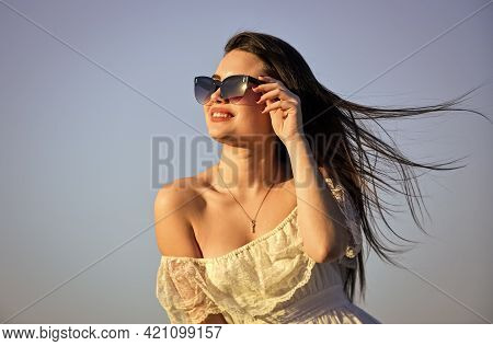 Wind Of Change. Freedom And Harmony. Female Psychology. Beautiful Woman On Sunny Day Blue Sky. Summe