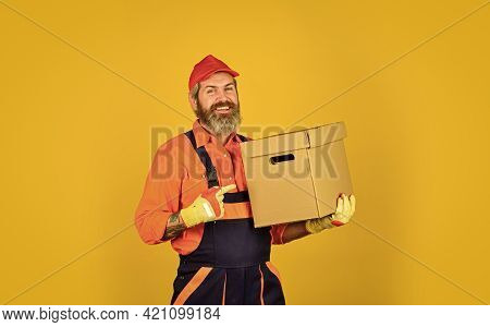 At Your Service. Moving House Day. Think Outside The Box. Express Delivery Concept. Man Worker In Bo