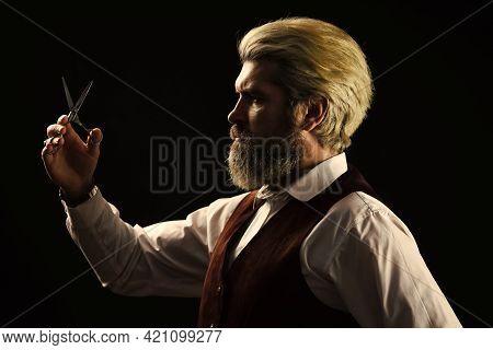 Barbershop. Mature Man With Dyed Hair. Vintage Barbershop. Barber Tools. Barbershop Services. Keep Y