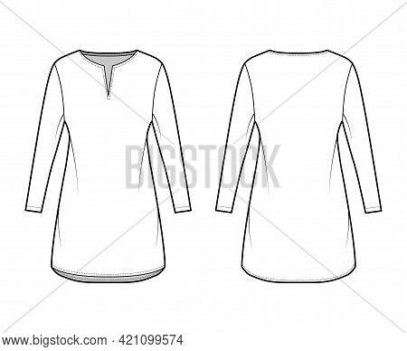 Dress Tunic Technical Fashion Illustration With Long Sleeves, Oversized Body, Mini Length Skirt, Sla