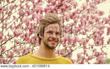 Joy Of Spring. Man Flowers Background. Spring Beauty. Hipster Enjoy Blossom. Springtime Concept. Guy