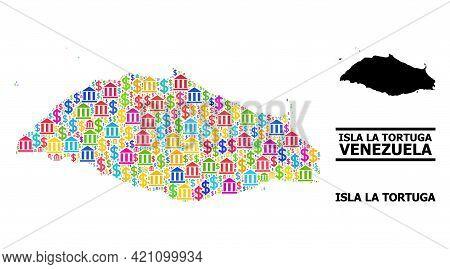 Vibrant Bank And Dollar Mosaic And Solid Map Of Isla La Tortuga. Map Of Isla La Tortuga Vector Mosai