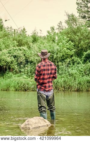 Hobby Is The Great Way To Go. Successful Fly Fishing. Summer Weekend. Fisherman Show Fishing Techniq