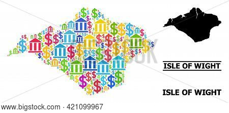 Colored Finance And Dollar Mosaic And Solid Map Of Isle Of Wight. Map Of Isle Of Wight Vector Mosaic