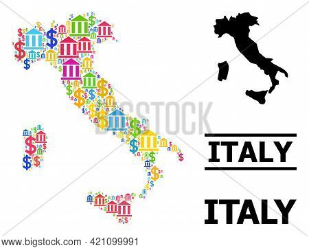 Bright Colored Finance And Money Mosaic And Solid Map Of Italy. Map Of Italy Vector Mosaic For Geogr
