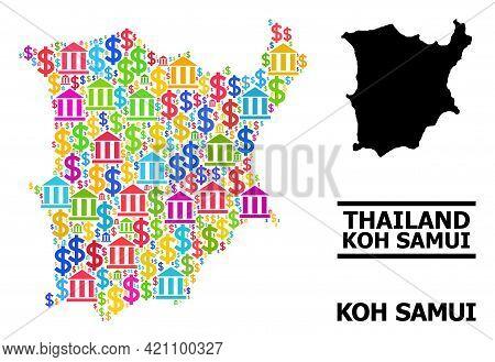 Bright Colored Bank And Economics Mosaic And Solid Map Of Koh Samui. Map Of Koh Samui Vector Mosaic