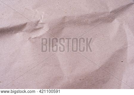 Empty Crumpled Beige Paper Surface. Old Paper Crumpled Texture. Photograph Of Recycle Light Brown Kr