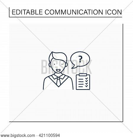 Asking Questions Line Icon. Questioning. Eliciting Information. Effective Communication Concept. Iso
