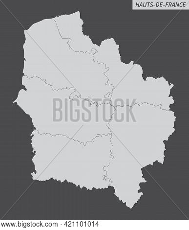 Hauts-de-france Administrative Map Isolated On Dark Background, France
