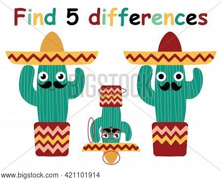 Find Differences Game With Funny Mexican Cactus Man Stock Vector Illustration. Activity Page For Kid