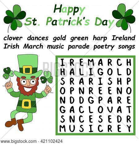 Happy St Patrick Day Big Word Search Puzzle Stock Vector Illustration. Colorful Educational Puzzle F