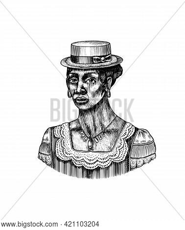 Elegant Woman In Hat. Afro American Lady. Victorian Era. Fashion And Clothes. Hand Drawn Old Sketch.