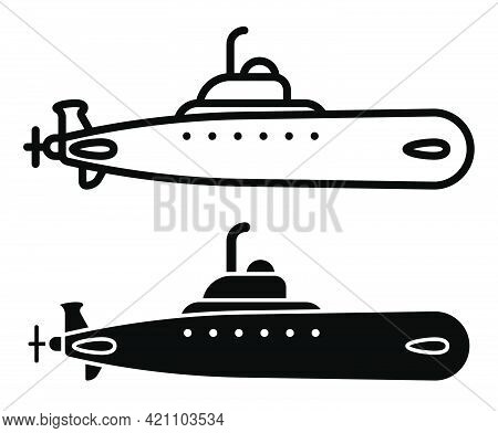 Military Combat Submarine. Marine Fleet. Underwater Research. Simple Linear Icon, Silhouette. Vector