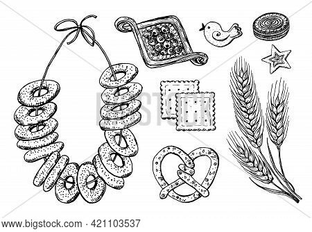 Bakery Products. Bagels And Biscuits And Wheat. Engraved Hand Drawn In Old Sketch And Vintage Style