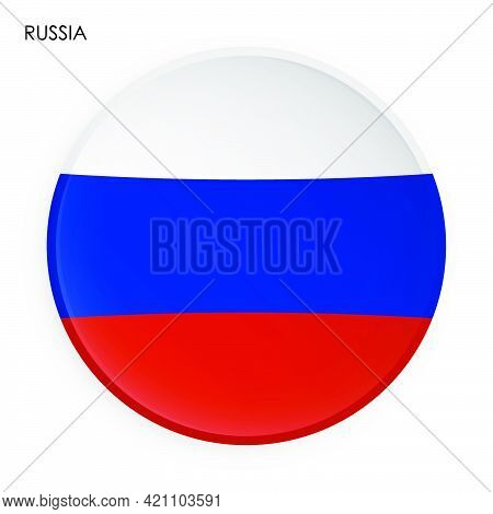 Russian Federation Flag Icon In Modern Neomorphism Style. Button For Mobile Application Or Web. Vect