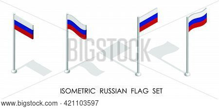 Isometric Flag Of Russian Federation In Static Position And In Motion On Flagpole. 3d Vector