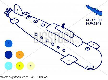 Children Linear Drawing For Coloring Book. Toy Submarine. Underwater Research In Linear. Children To