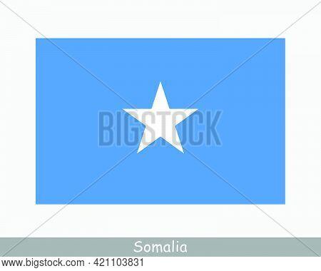 National Flag Of Somalia. Somali Country Flag. Federal Republic Of Somalia Detailed Banner. Eps Vect