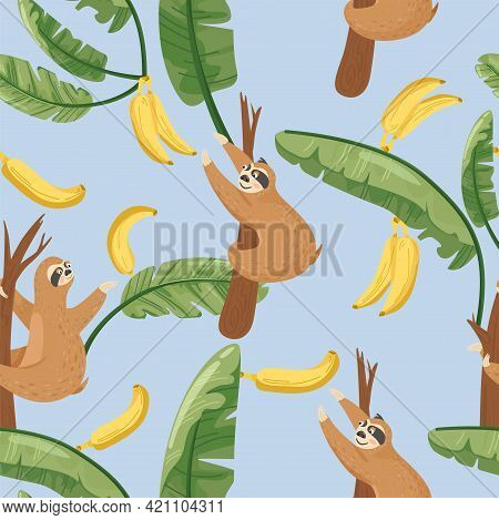 Seamless Pattern With Cute Lazy Sloths And Exotic Palm Banana Leaf. Vector Jungle Floral Background