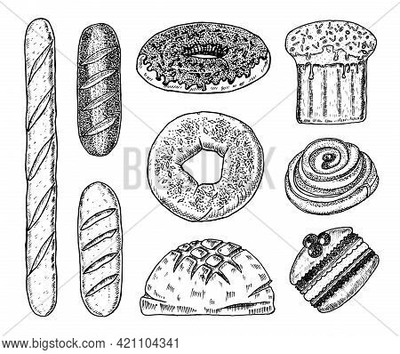 Bakery Products. Baguettes And Donuts, Cake And Bread, Pie And Cake. Engraved Hand Drawn In Old Sket