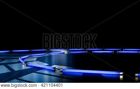 A Black Reflective Stage Setting With Silver Designs Lit By A Circular Arrangement Of Blue Neon Fluo