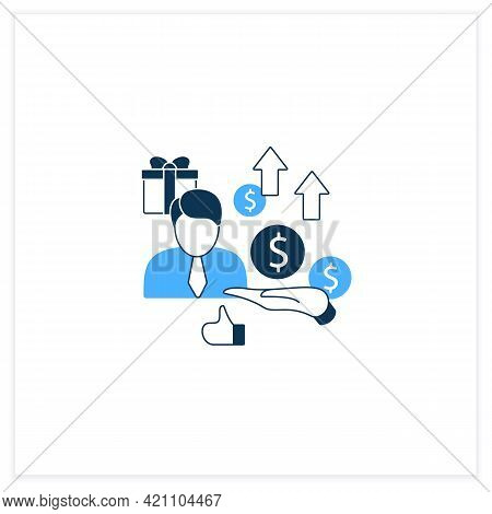 New Investors Flat Icon. Creating New Investors Generation. High Quality Worker. Profitable Business